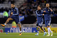 Argentina's forwards Lionel Messi (2nd-R), Mauro Icardi and defender Javier Mascherano warm up before their 2018 FIFA World Cup qualifier football match against Venezuela,  at El Monumental stadium, in Buenos Aires, on September 5, 2017.