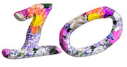 The number Ten Part of a set of letters, Numbers and symbols of 3D Alphabet made with colourful floral images on white background