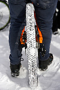 SHOT 2/9/13 2:18:02 PM - Snow covered tires during practice for the Best Trick Bike event at the second annual Winter Mountain Games presented by Eddie Bauer at Vail Ski Resort in Vail, Co. The Winter Mountain Games feature competitions in X-Country On-Snow Mountain Bike Races, mixed climbing, Telemark Big Air, Best Trick Bike and On-Snow Mountain Bike Crit with more than $60,000 in prize money on the line. (Photo by Marc Piscotty / © 2013)