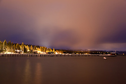 """Tahoe City at Night"" - This long exposure was photographed after sunset in Tahoe City, CA."