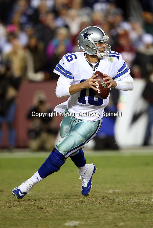 Dallas Cowboys quarterback Matt Cassel (16) rolls right and throws a fourth quarter first down during the 2015 week 13 regular season NFL football game against the Washington Redskins on Monday, Dec. 7, 2015 in Landover, Md. The Cowboys won the game 19-16. (©Paul Anthony Spinelli)