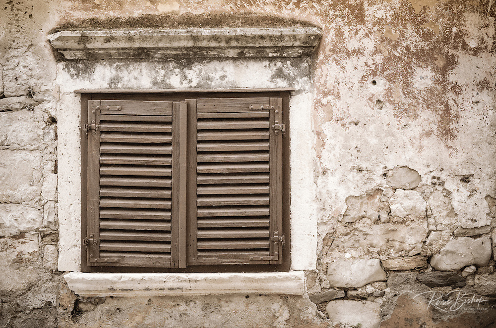 Shuttered window and wall, Skradin, Dalmatia, Croatia