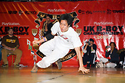 A Japaese boy dancing on stage. UK B-Boy championships 06. 08/10/2006