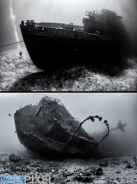 The stern of the Chrisoula K wreck (also known as the tile wreck) photographed in Black and White. Abu Nuhas, Egypt. Strait of Gubal, Gulf of Suez, Red Sea.