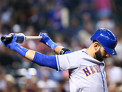 June 14, 2018 - Phoenix, AZ, U.S. - PHOENIX, AZ - JUNE 14: New York Mets center fielder Jose Bautista (11) stretches during the MLB baseball game between the Arizona Diamondbacks and the New York Mets on June 14, 2018 at Chase Field in Phoenix, AZ (Photo by Adam Bow/Icon Sportswire) (Credit Image: © Adam Bow/Icon SMI via ZUMA Press)