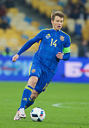 KIEV, UKRAINE - Easter Monday, March 28, 2016: Ukraine's captain Ruslan Rotan in action against Wales during the International Friendly match at the NSK Olimpiyskyi Stadium. (Pic by David Rawcliffe/Propaganda)