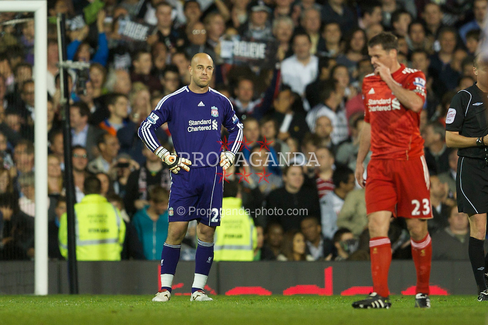 LONDON, ENGLAND - Monday, May 9, 2011: Liverpool's goalkeeper Jose Reina looks dejected after conceding a goal to Fulham during the Premiership match at Craven Cottage. (Photo by David Rawcliffe/Propaganda)
