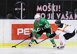 14.10.2016, Hala Tivoli, Ljubljana, SLO, EBEL, HDD Olimpija Ljubljana vs Moser Medical Graz 99ers, 9. Runde, im Bild Anze Ropret (HDD Olimpija), Ken Ograjensek (Graz 99ers) // during the Erste Bank Icehockey League 9th round match between HC Orli Znojmo and Moser Medical Graz 99ers at the Hala Tivoli in Ljubljana, Slovenia on 2016/10/14. EXPA Pictures © 2016, PhotoCredit: EXPA/ Sportida/ Vid Ponikvar<br /> <br /> *****ATTENTION - OUT of SLO, FRA*****