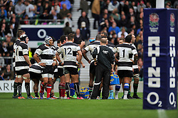 The Barbarians huddle together after conceding a try - Photo mandatory by-line: Patrick Khachfe/JMP - Mobile: 07966 386802 31/05/2015 - SPORT - RUGBY UNION - London - Twickenham Stadium - England XV v Barbarians - International Rugby