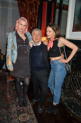 Left to right, INDIA ROSE JAMES, JAMES PELTEKIAN and MORGANE POLANSKI at the True Religion House Party held at 48 Greek Street, Soho, London on 2nd June 2016.