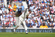 Jofra Archer of England throws the ball at the stumps of Steve Smith of Australia during the 5th International Test Match 2019 match between England and Australia at the Oval, London, United Kingdom on 13 September 2019.