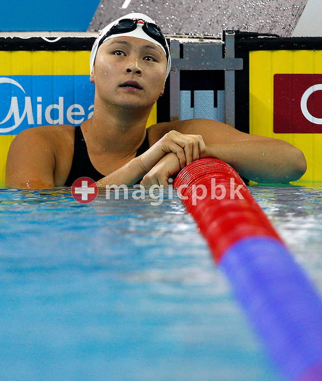 Victoria POON of Canada reacts after competing in the women's 100m Freestyle Final during the 10th FINA World Swimming Championships (25m) at the Hamdan bin Mohammed bin Rashid Sports Complex in Dubai, United Arab Emirates, Friday, Dec. 17, 2010. (Photo by Patrick B. Kraemer / MAGICPBK)