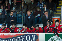 KELOWNA, CANADA - APRIL 7: Portland Winterhawks' coaches Oliver David, Mike Johnston and Kyle Gustafson stand on the bench against the Kelowna Rockets on April 7, 2017 at Prospera Place in Kelowna, British Columbia, Canada.  (Photo by Marissa Baecker/Shoot the Breeze)  *** Local Caption ***