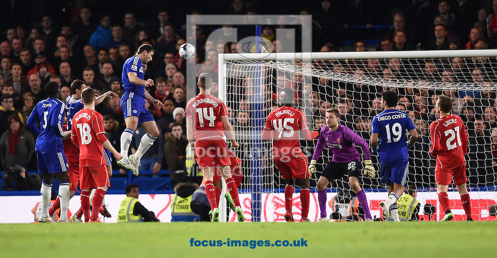 Branislav Ivanovic of Chelsea scoring their first goal during the Capital One Cup match against Liverpool at Stamford Bridge, London<br /> Picture by Andrew Timms/Focus Images Ltd +44 7917 236526<br /> 27/01/2015