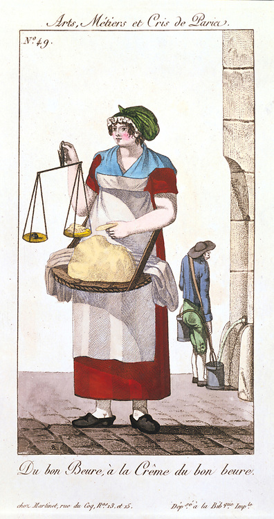 Butter seller with balance to weigh her butter. In background water carrier is filling buckets at conduit. From 'Arts, Metiers et Cris de Paris' Paris, 1826.  Coloured engraving.