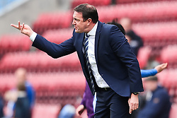 Wigan Athletic Manager, Malky Mackay shouts at his players - Photo mandatory by-line: Matt McNulty/JMP - Mobile: 07966 386802 - 06/04/2015 - SPORT - Football - Wigan - DW Stadium - Wigan Athletic v Derby County - SkyBet Championship