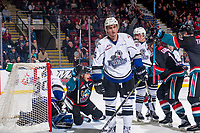 KELOWNA, CANADA - OCTOBER 5: Leif Mattson #28 of the Kelowna Rockets celebrates a third period goal against the Victoria Royals  on October 5, 2018 at Prospera Place in Kelowna, British Columbia, Canada.  (Photo by Marissa Baecker/Shoot the Breeze)  *** Local Caption ***