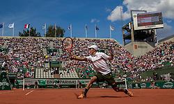 June 5, 2017 - Paris, France - Kei Nishikori of Japan returns the ball to Fernando Verdasco of Spain during the fourth round at Roland Garros Grand Slam Tournament - Day 9 on June 5, 2017 in Paris, France. (Credit Image: © Robert Szaniszlo/NurPhoto via ZUMA Press)