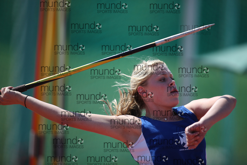 Sherbrooke, Quebec ---08/08/09---  Annalyse Myers of Nova Scotia competes in the javelin at the 2009 Legion Canadian Youth Track and Field Championships in Sherbrooke, Quebec, August 10, 2009..HO/ Athletics Canada (credit should read GEOFF ROBINS/Mundo Sport Images/ Athletics Canada)..