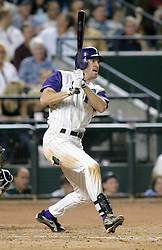 Phoenix, AZ 06-17-04 Arizona Diamondbacks' Steve Finley gets a single in the 8th inning. Finley had 1 run and 3 hits in the Diamondbacks 6-1 win over the New York Yankees in front of a sold out crowd. Ross Mason photo