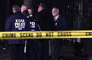 20 December-New York, NY: NYPD Commissioner Williamm Bratton arrives at the scene of where two NYPD Police Officers were shot and killed on December 20, 2014 in the Bedford Stuyvesant section of Brooklyn. NYPD Officers Wenijan Liu and Raphael Ramos were ' shot and killed with no warning, no provocation execution style ' according to NYPD Commissioner William Bratton. The suspect, identified as Ismaayil Brinsley, allegedly ran into a nearby subway with police in chase, run onto the platform and committed suicide. It is believed earlier during the day, he shot and killed his girlfriend in Baltimore, Maryland several hours earlier.   (Photo by Terrence Jennings/terrencejennings/com)