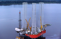 Stock photo of a jack-up offshore drilling rig in Sumatra.