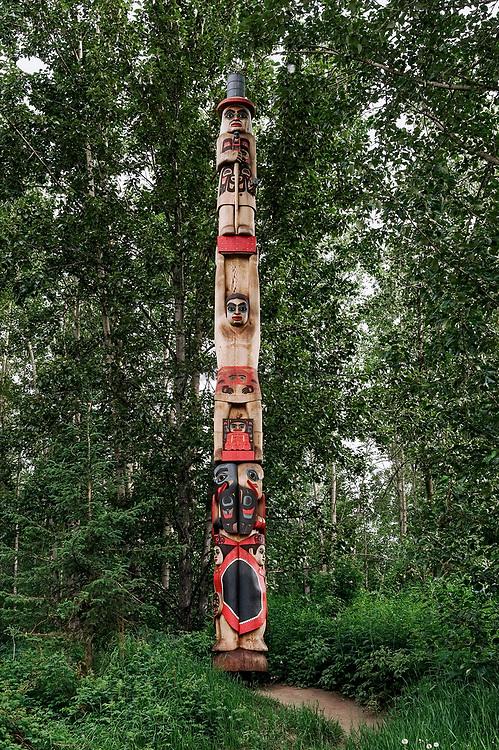 Totem pole, Alaska Native Heritage Center, Anchorage, Alaska, USA.