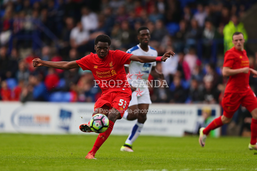 BIRKENHEAD, ENGLAND - Friday, July 8, 2016: Liverpool's Oviemuno Ejaria in action against Tranmere Rovers during a preseason friendly match at Prenton Park. (Pic by Bradley Ormesher/Propaganda)