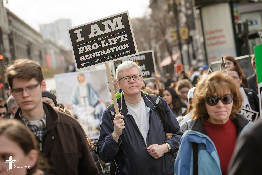 Robert Bok, parishioner of West Portal Lutheran Church in San Francisco, marches in the 2016 Walk for Life West Coast on Saturday, Jan. 23, 2016, in San Francisco. LCMS Communications/Erik M. Lunsford
