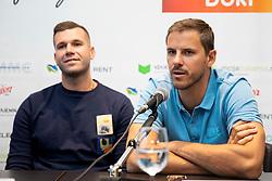 Sani Becirovic and Bostjan Nachbar at press conferencee before basketball event Kosarkaska simfonija, on August 27, 2018 in Austria Trend hotel, Ljubljana, Slovenia. Photo by Urban Urbanc / Sportida