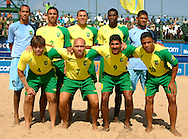 07 December 2006, The Brazilian team poses for a photo just before the first game of the Vodacom Pro Beach Soccer Tour in Durban's Bay of Plenty against England on Thursday. Brazil won the game 10 - 3. Picture: Shayne Robinson, PhotoWire Africa