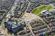 Nederland, Noord-Holland, Amsterdam, 09-04-2014; <br /> Het gerenoveerde Rijksmuseum aan de Stadhouderskade met zicht op het Museumplein. Langs de rechterkant van het Museumplein het Van Goghmuseum, het Stedelijk Museum Amsterdam en tenslotte het Concertgebouw aan de kopse kant.<br /> IJsbaan is nu een vijver, links aan de Hobbemakade naast het museum het eveneens gerenoveerde zwembad Zuiderbad.<br /> Detailed view of the newly renovated worldfamous Rijksmuseum on the Stadshouderskade and the Museumplein, the Van Goghmuseum and the Stedelijk Museum, next to the museum the historic swimming  pool Zuiderbad. The Concertgebouw in the back. <br /> luchtfoto (toeslag op standard tarieven);<br /> aerial photo (additional fee required);<br /> copyright foto/photo Siebe Swart