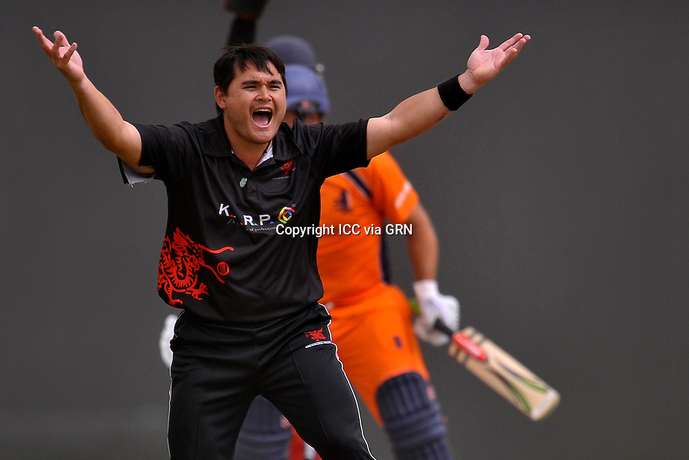HK's John Patrick Lamsam appeals for a Dutch wicket at the ICC World Twenty20 Qualifier UAE 2012.. Pix ICC/Thusith Wijedoru