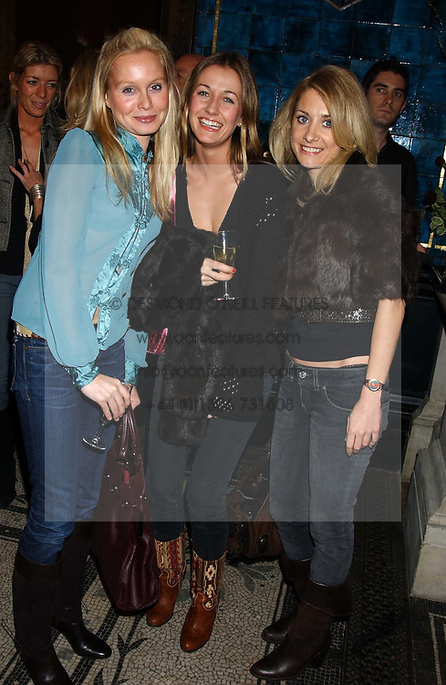 Left to right, FLEUR HOLCROFT, ERIN KNOWLES and ANNABEL SLATER at a party hosted by Tanner Krolle held at Leighton House, 12 Holland Park Road, London W14 on 8th December 2005.<br />