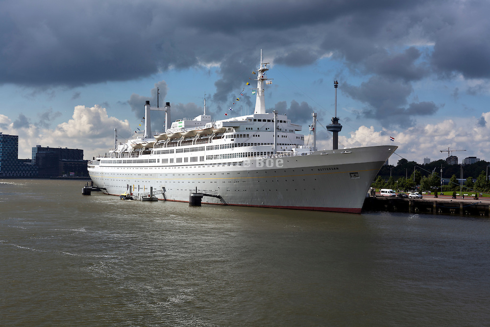 The SS Rotterdam former flagship of the Holland-America line is now permanently moored as a hotel and museum