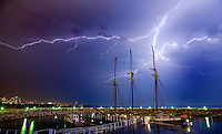 Lightning strikes over the Dennis Suliven that is docked outside of the Discovery World Museum in downtown Milwaukee along the Lake Michigan shore Aug. 22, 2007 Milwaukee WI. ( Photo/Darren Hauck).
