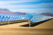 Nevada Solar One curved mirrors and heat collectors in The Eldorado Valley of Nevada.