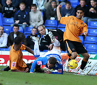 Birmingham city v Wolves,Championshipe ,18-11-2006,Birminghams Gary McSheffrey goes down under a tackel from Wolves Lewis Gobern