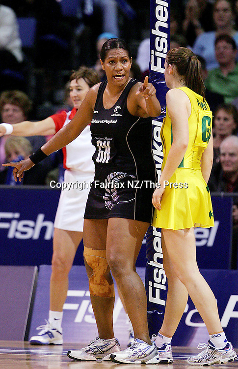 Silvers Ferns Goal Defence Vilimaina Davu has words with Australian goal attack Susan Prattley during the third and deciding netball test match between New Zealand and Australia held at the Westpac  Trust Stadium in Christchurch.Australia won the match 46-40 to clinch the Fisher and Paykel Series.