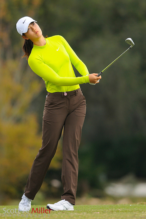 Dec. 4, 2008; Daytona, FL, USA; Michelle Wie hits her second shot on the 12th hole during the second round of Qualifying School on the Champions Course at LPGA International. ......©2008 Scott A. Miller