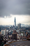 Dark and moody weather clouds in the sky above The Shard the tallest building in the Eurpoean Union, London, England, United Kingdom. (photo by Andrew Aitchison / In pictures via Getty Images)