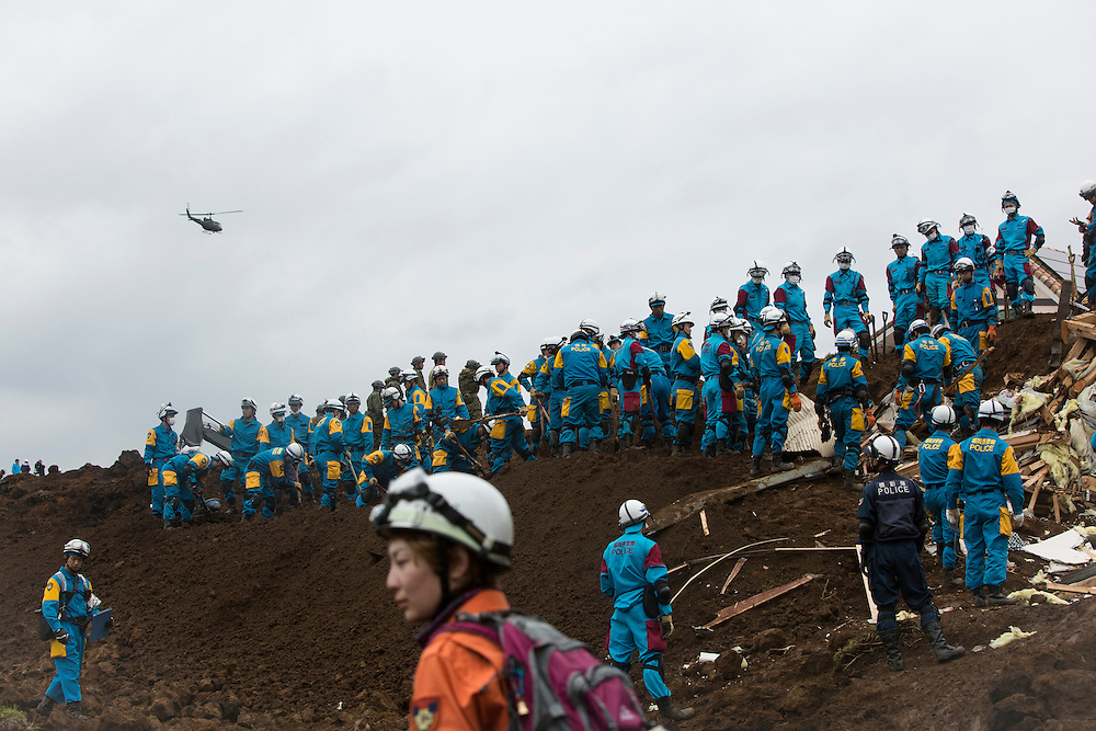 KUMAMOTO, JAPAN - APRIL 18: Police and Japan Ground Self-Defense Force continue to rescue April 18, 2016 in Minamiaso, Kumamoto, Japan. The magnitude 7.3 earthquake hit Kyushu, just after the earthquake killed 9, at least 26 new fatalities by this earthquake, total death toll from the series of earthquake rises to 35.