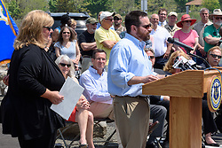 Rob Klee introducing Christine Koster, President Friends of Hammonasset, at the Ribbon Cutting Ceremony for the New Meigs Point Nature Center at Hammonasset Beach State Park. A Connecticut State Project No: BI-T-601   Northeast Collaborative Architects  Contractor: Secondino & Son