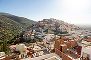 View over the Medina of Moulay Idriss Zerhoun and the Mausoleum of Idriss I from Scorpion House, Moulay Idriss Zerhoun, Middle Atlas, Morocco, 2016-08-15.