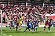 Shrewsbury Town Goal keeper Max O'Leary (25) clears ball from goal area  during the EFL Sky Bet League 1 match between Rotherham United and Shrewsbury Town at the AESSEAL New York Stadium, Rotherham, England on 21 September 2019.