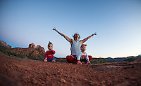 Danielle Fazio with Maya Raven & Matteo Hawk Fazio at Cathedral Rock, Sedona - Arizona