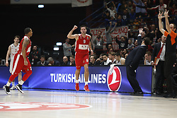 November 17, 2017 - Milan, Milan, Italy - Mantas Kalnietis (#9 AX Armani Exchange Milan) celebrates during a game of Turkish Airlines EuroLeague basketball between  AX Armani Exchange Milan vs Brose Bamberg at Mediolanum Forum, on November 17, 2017 in Milan, Italy. (Credit Image: © Roberto Finizio/NurPhoto via ZUMA Press)