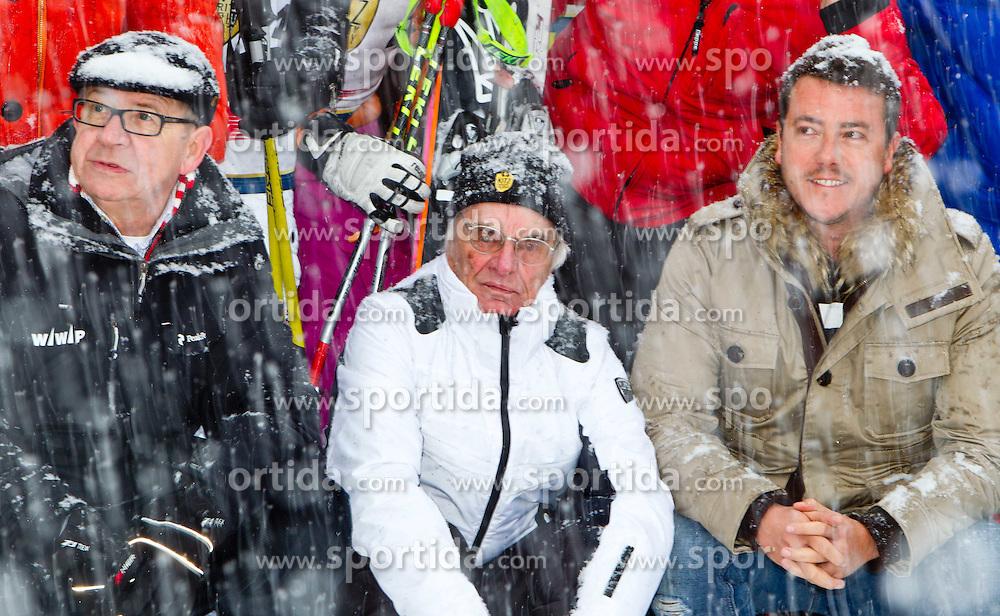 21.01.2012, Hahnenkamm, Kitzbuehel, AUT, FIS Weltcup Ski Alpin, 72. Hahnenkammrennen, Charity race, im Bild v.l.:  WWP vorsitzender Burghard Hummel (AUT) Formel 1-Zampano Bernie Ecclestone (GBR) und Immobilien-Tycoon René Benco (AUT) // during Charity race of 72th Hahnenkammrace of FIS Ski Alpine World Cup at 'Charity' course in Kitzbuhel, Austria on 2012/01/21. EXPA Pictures © 2012, PhotoCredit: EXPA/ Markus Casna