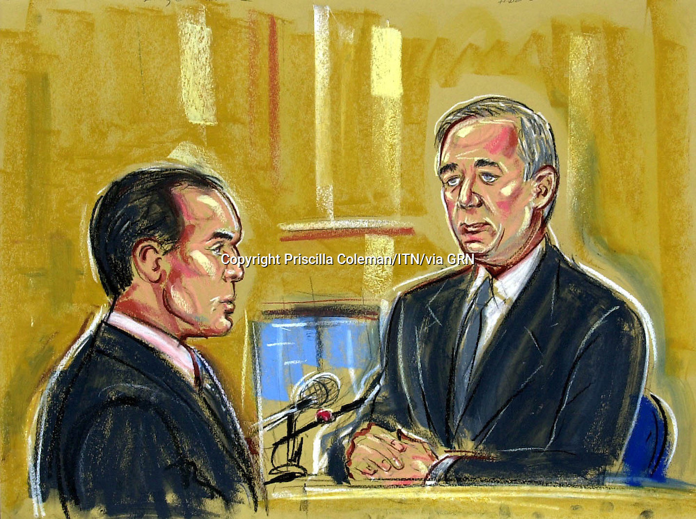 ©PRISCILLA COLEMAN ITV NEWS 27.08.03.SUPPLIED BY: PHOTONEWS SERVICE LTD OLD BAILEY.PIC SHOWS: JEFF HOON THE SECRETARY OF STATE FOR DEFENCE  BEING QUESTIONED BY JAMES DINGEMANS Q.C AT THE INQUIRY INTO THE DEATH OF DR DAVID KELLY, HELD AT THE HIGH COURT, TODAY-SEE STORY.ILLUSTRATION: PRISCILLA COLEMAN ITV NEWS
