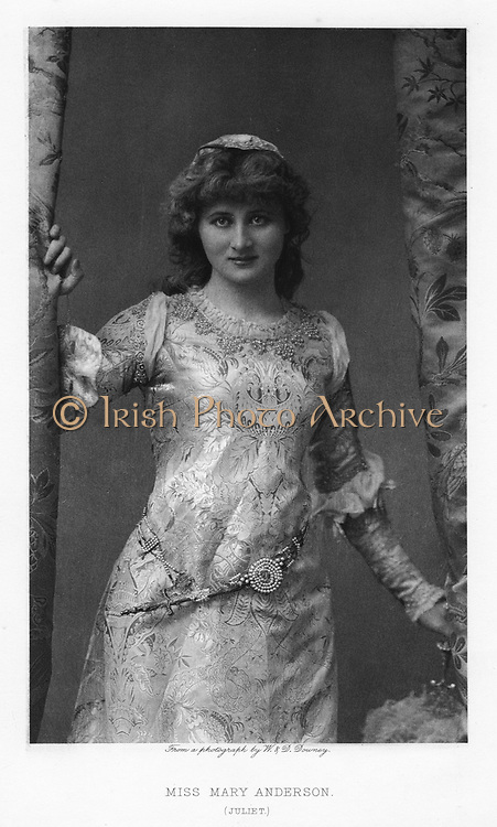 Mary Anderson (1859-1940) American actress, c1895. Here as Juliet in 'Romeo and Juliet' by William Shakespeare.She retired from stage in 1889.  Photogravure.  Theatre. Play. English Literature.